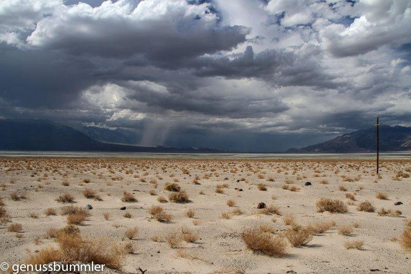 Anfahrt zum Death Valley bei Unwetter
