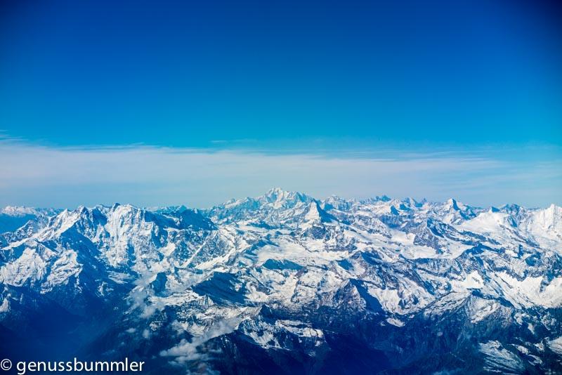 Rückblick Hinflug Mailand Alpen