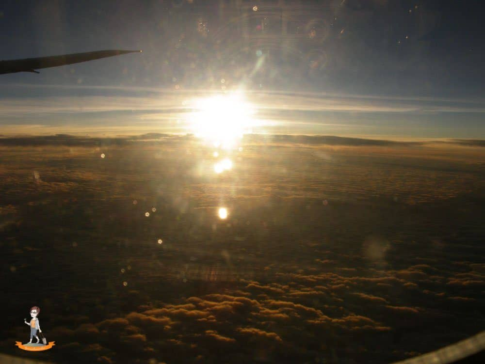 Langstreckenflug Blick aus Flugzeug