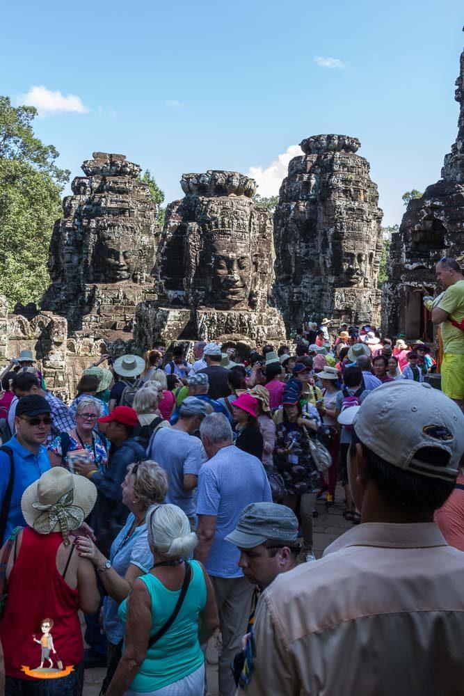 Kambodscha Angkor Thom Menschenmassen