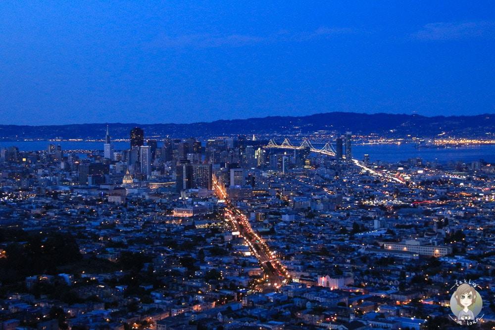 San Francisco Twin Peaks Aussicht Nacht